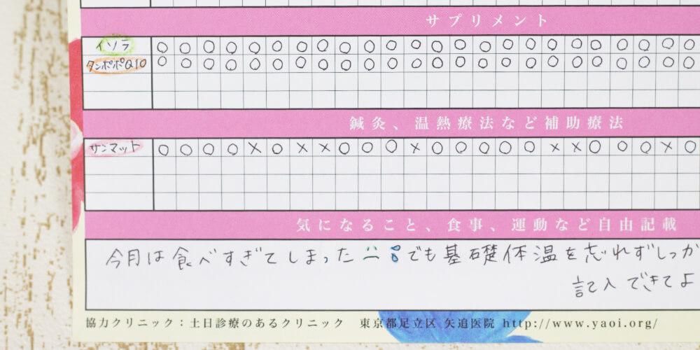 妊活手帳®︎基礎体温表アップ